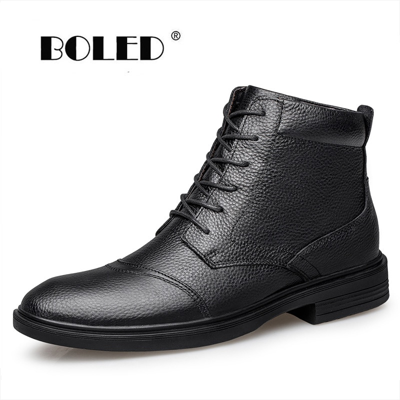 autumn winter genuine leather ankle boots chelsea boots men shoes warm vintage classic male casual winter shoes men snow boots Vintage Style Men Boots Waterproof Warm Plush Natural Leather Ankle Snow Boots Outdoor Plus Size Autumn Winter Shoes Men