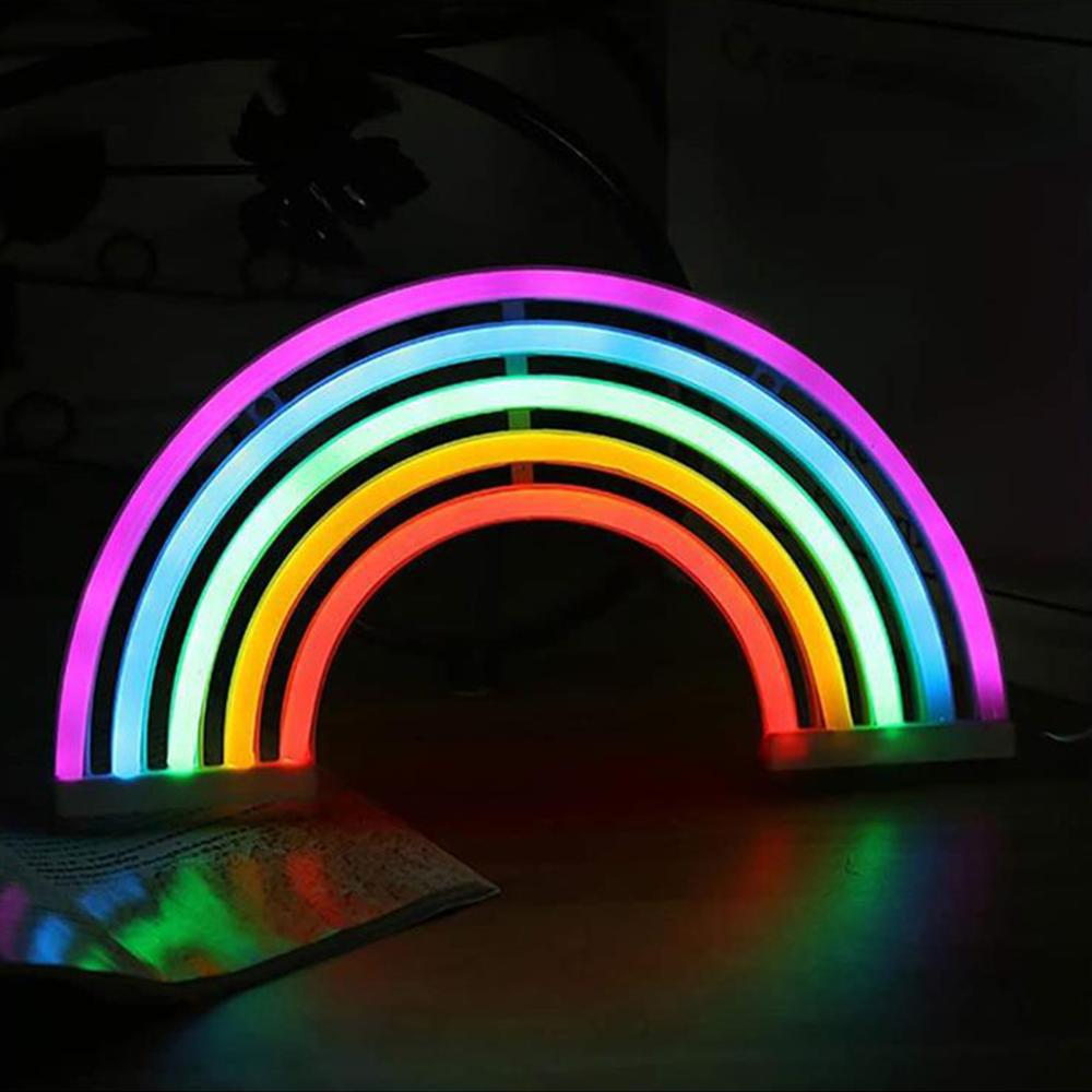 Neon Light Sign Rainbow Bedroom Wall Lamp LED USB Battery Operated Marquee Signs Lighting