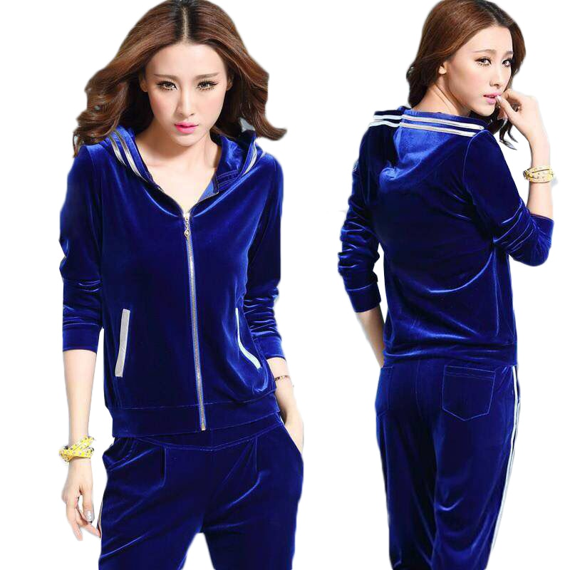 New Women Velvet Tracksuits Spring Casual Hooded Jacket+Trousers Two Sets Gold Velvet Sportswear Suit Plus Size Female Pants Set