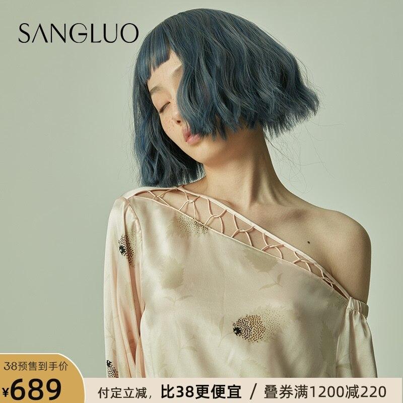 لبس منامة المرأة المطبوعة دعوى سانجلو الربيع والصيف الحرير المنزل ارتداء