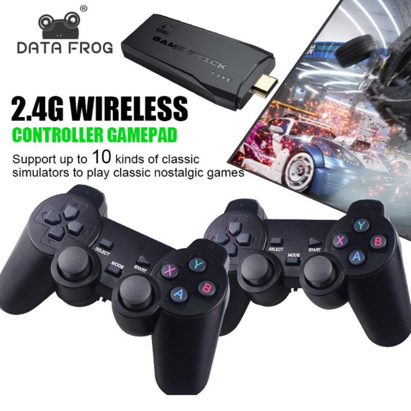 4K HD لعبة فيديو وحدة التحكم 2.4G وحدة تحكم لاسلكية مزدوجة ل PS1/FC/GBA ريترو TV Dendy لعبة وحدة التحكم 10000 ألعاب عصا
