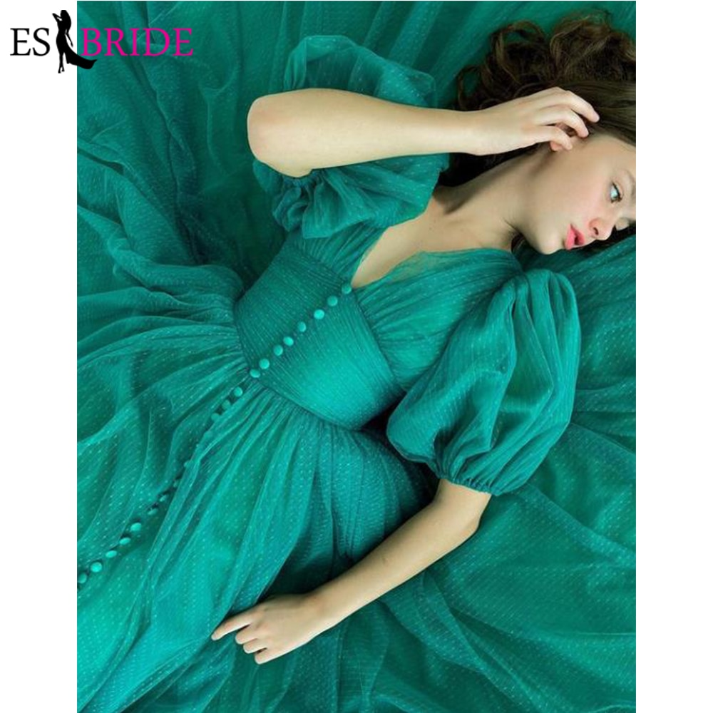 Green 2021 Tulle A Line Prom Dresses Puff Short Sleeves Draped Buttons Ruched Waist Elegant Evening Gown