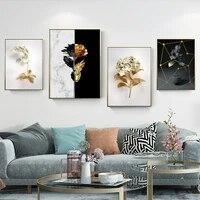 WTQ     toile imprimee de style Boho  feuilles dorees  geometrique abstrait  decor mural  decoration de salle