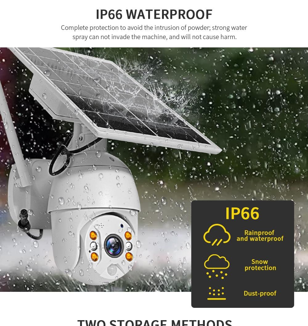 SHIWOJIA Camera 4G SIM Card 1080P HD Solar Panel Outdoor Monitoring CCTV Camera Smart Home Two-way Intrusion Alarm Long Standby