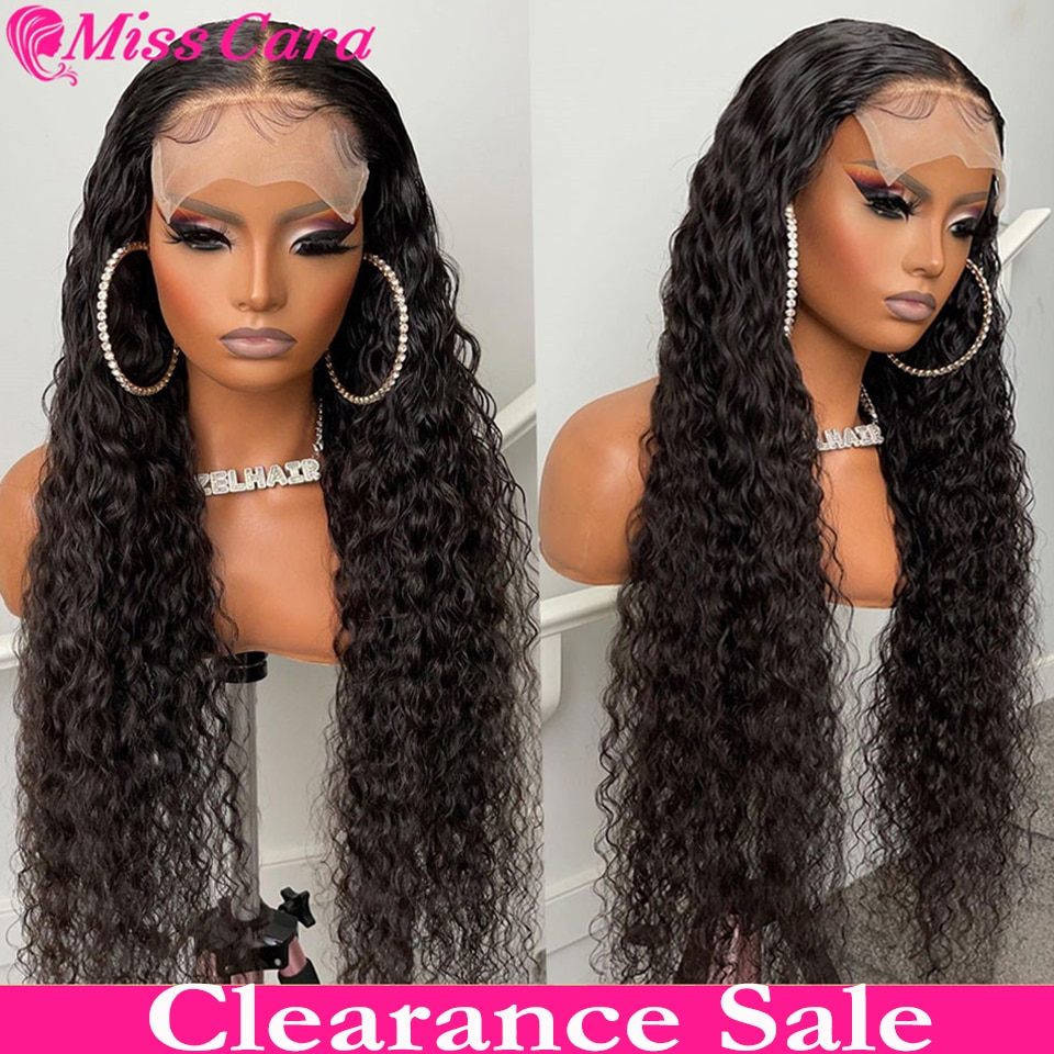 30 Inch Deep Wave Lace Closure Wig Brazilian Bone Straight Lace Front Wig 100% Remy Water Wave Human Hair Wig Deep Curly Wig 4x4