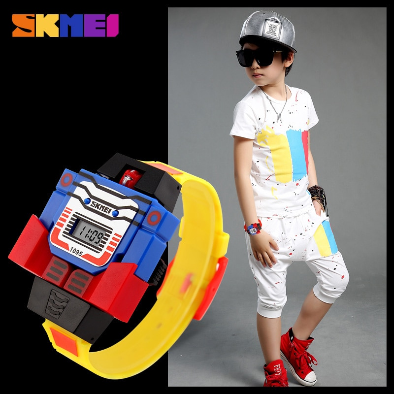 5pcs SKMEI Kids Cartoon Sports Watches Robot Transformation Toys  Children Wristwatches kids Gift 1095