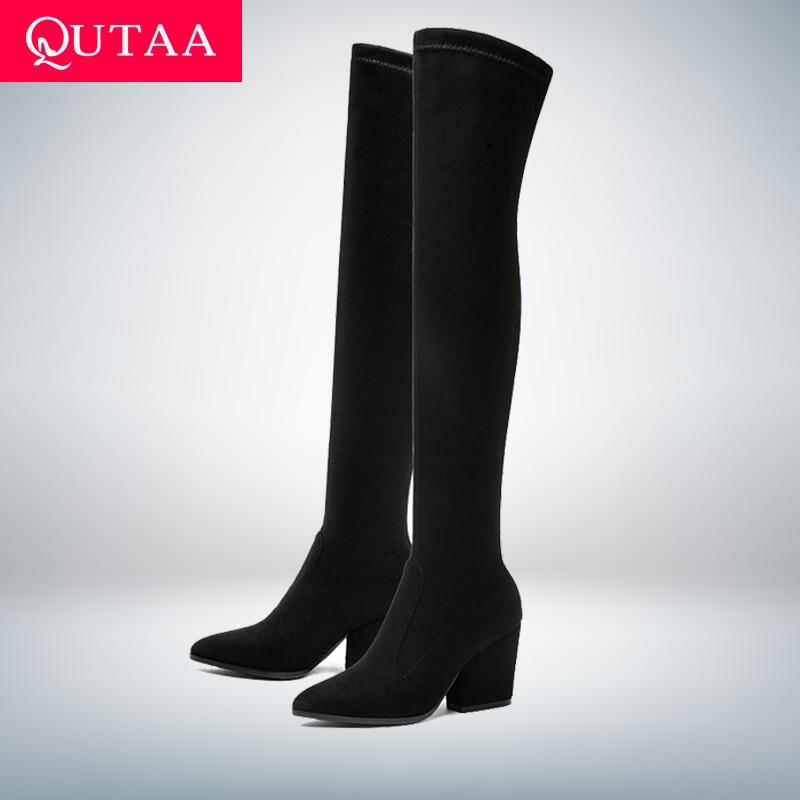 QUTAA-بوت نسائي فوق الركبة بكعب ويدج ، حذاء شتوي مثير بمقدمة مدببة ، قماش مرن ، مقاس 34-43 ، 2020