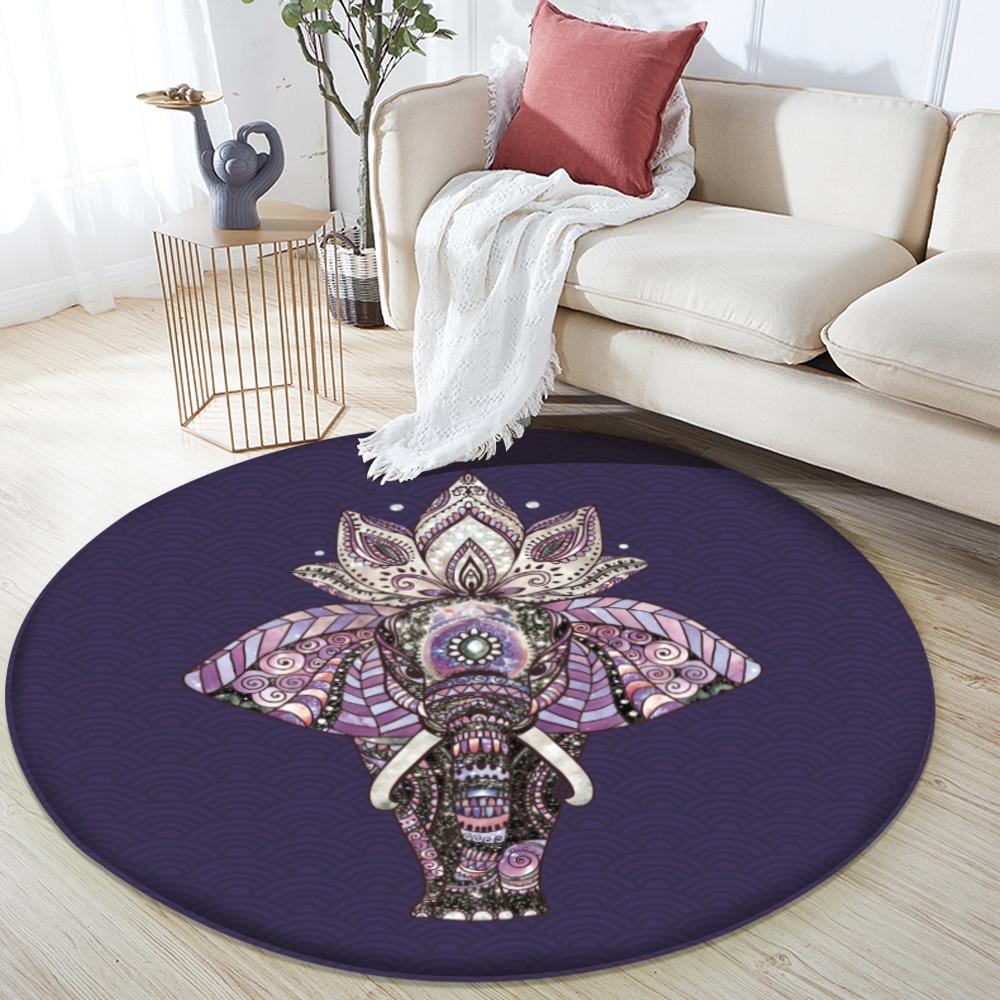 New Non-Slip Round Flannel Carpet Elephant Floor Mat Living Room Bedroom Anti-slip Area Carpet Ethnic Symbol Yoga Mat Rug 120cm