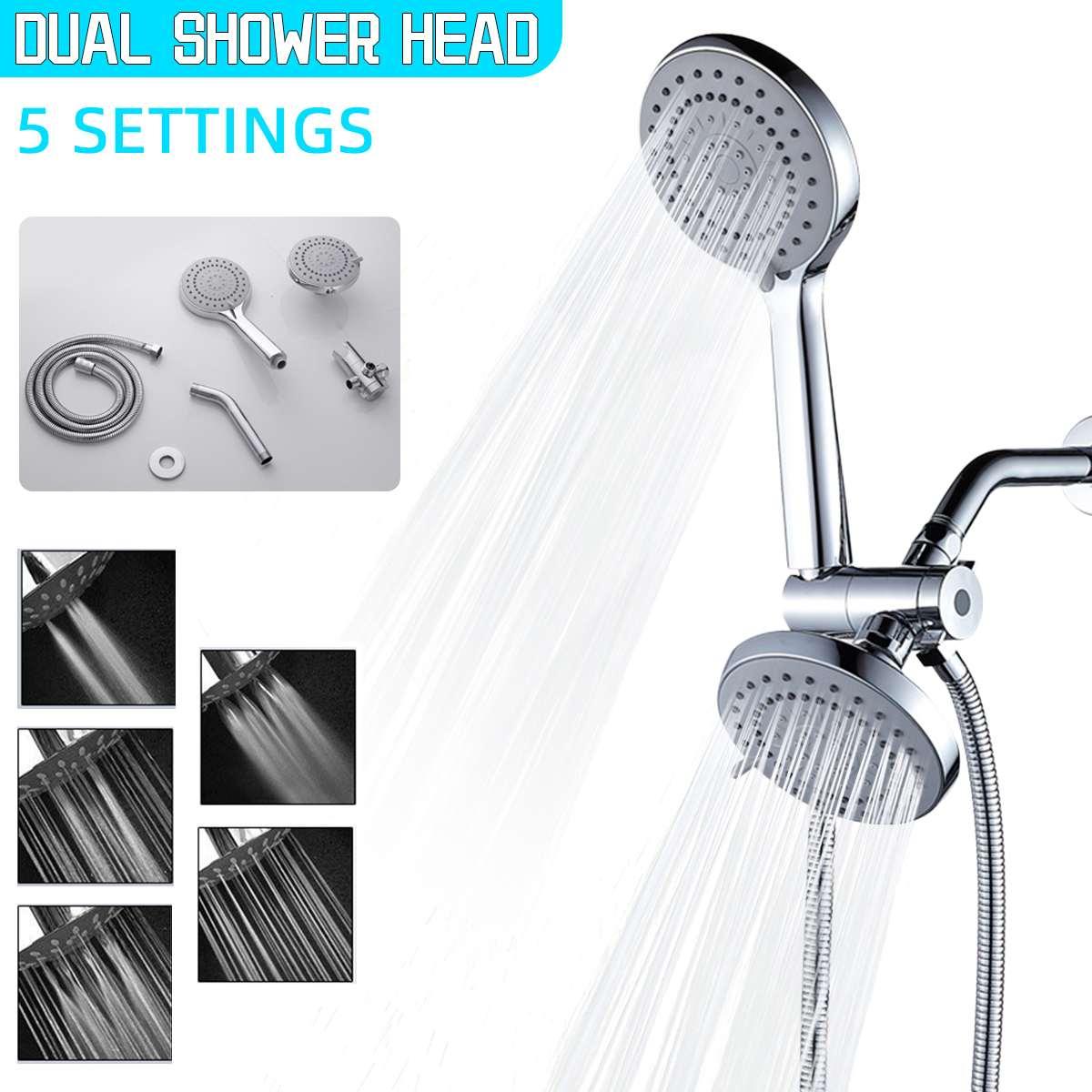 5 طرق رؤوس الدش 3in1 المزدوج الحمام مجموعة لحنفيات حوض الاستحمام دش حمام ارتفاع ضغط شلال الكروم فلتر الدش الرأسي