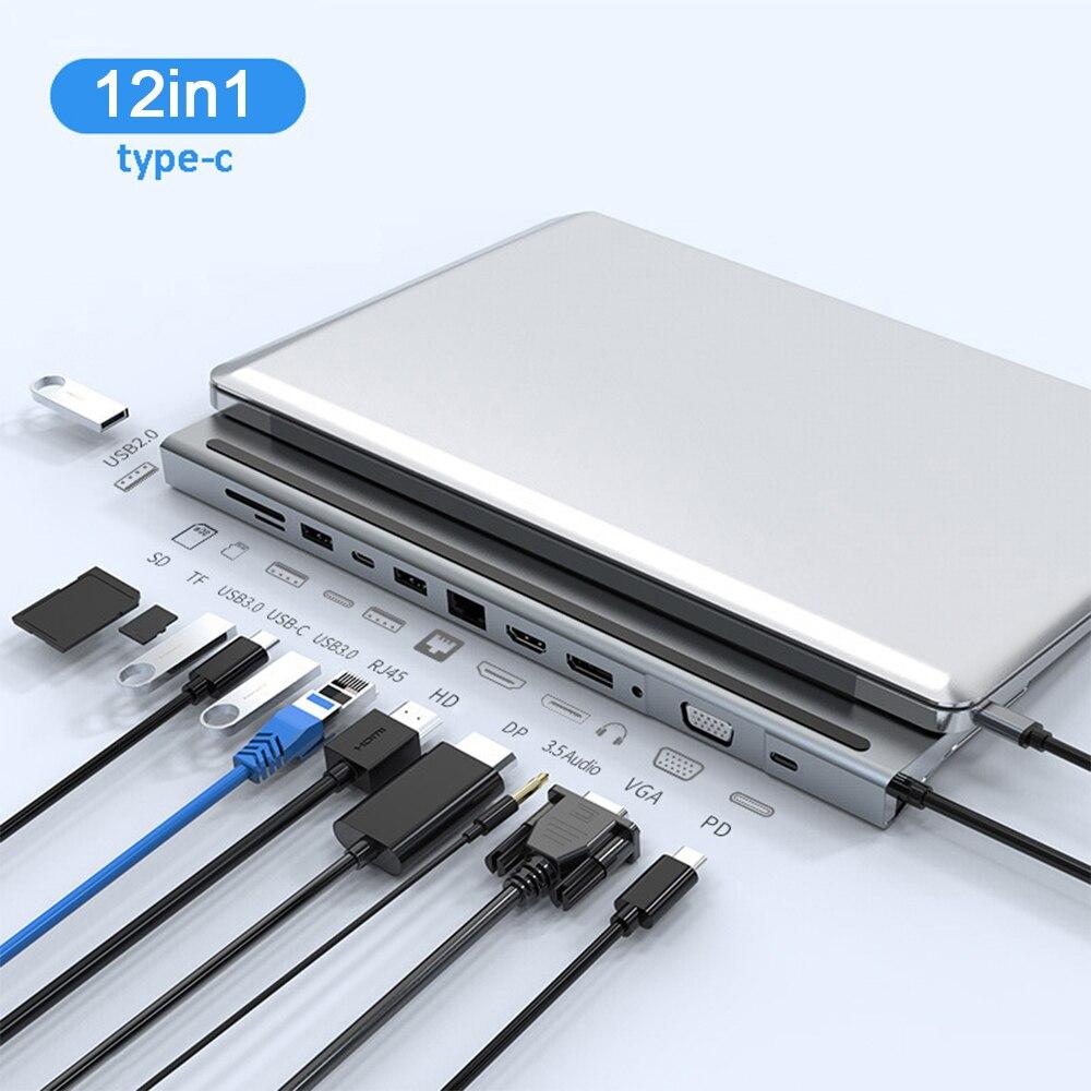 نوع C 3.1 HUB متعدد شاشة تمديد متعدد واجهة الخائن 12 منفذ نقل البيانات موسع يدعم شحن امدادات الطاقة
