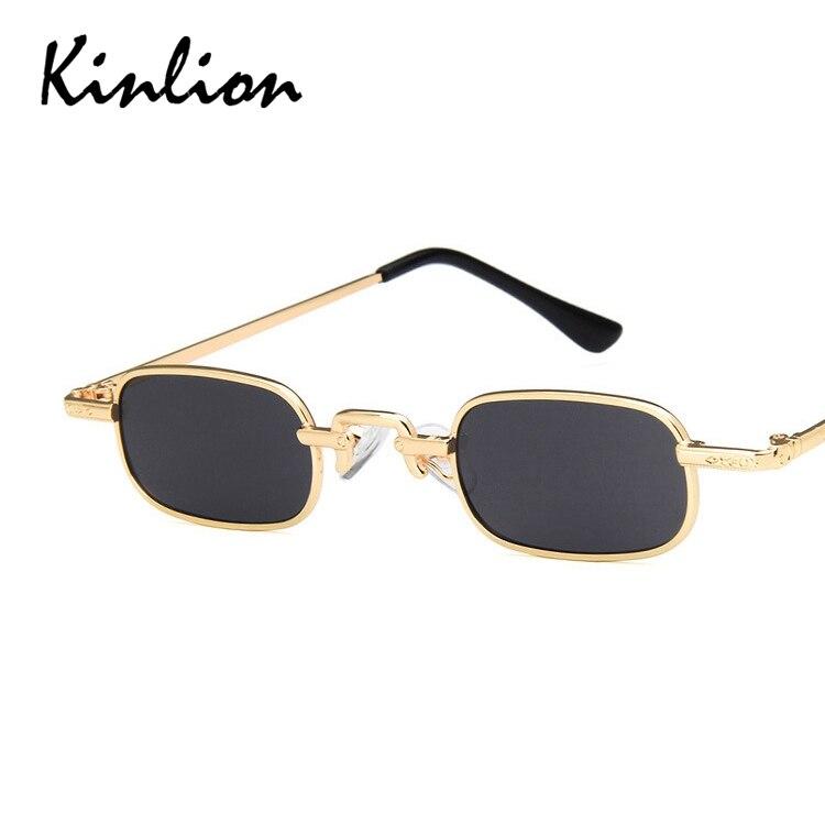 Kinlion Square Women Sunglasses Vintage Small Rectangle Metal Sun Glasses for Men Classic Ladies Gla
