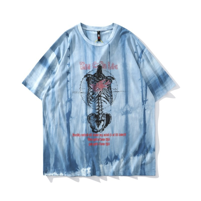 Hip Hop Oversized T Shirt Men Skull Print Tie Dye Streetwear Harajuku High Street Short Sleeve Cotto