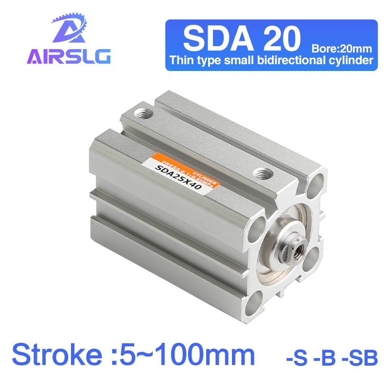 Фото - AIRTAC Type air pneumatic cylinder SDA double acting compact cylinder SDA20 Bore 20 mm stroke 5-100mm female /male thread air cylinder sda series male thread pneumatic compact airtac type 16 20 25 32 40 50 63mm bore to 5 10 15 20 25 30 35 40 45 50mm