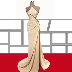 Satin Straight Champagne Prom Dresses High Neck robe de soirée de mariage Sweep Train платье на выпускной