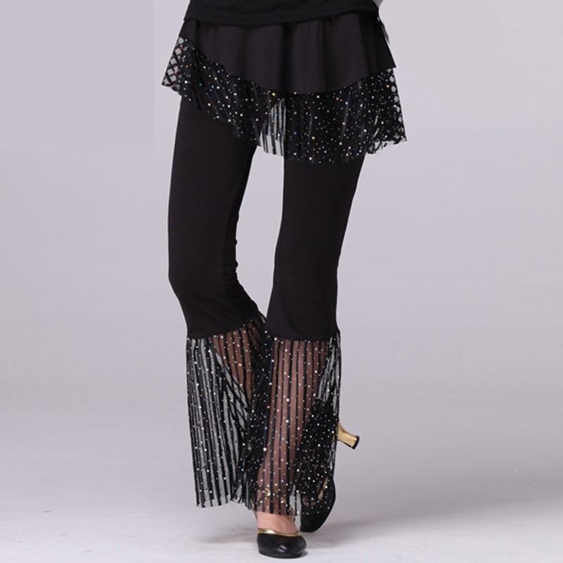 Women Dance Pants Slim Fit Sequin Bell-bottoms Soft Elastic Loose Latin Dance HSJ88