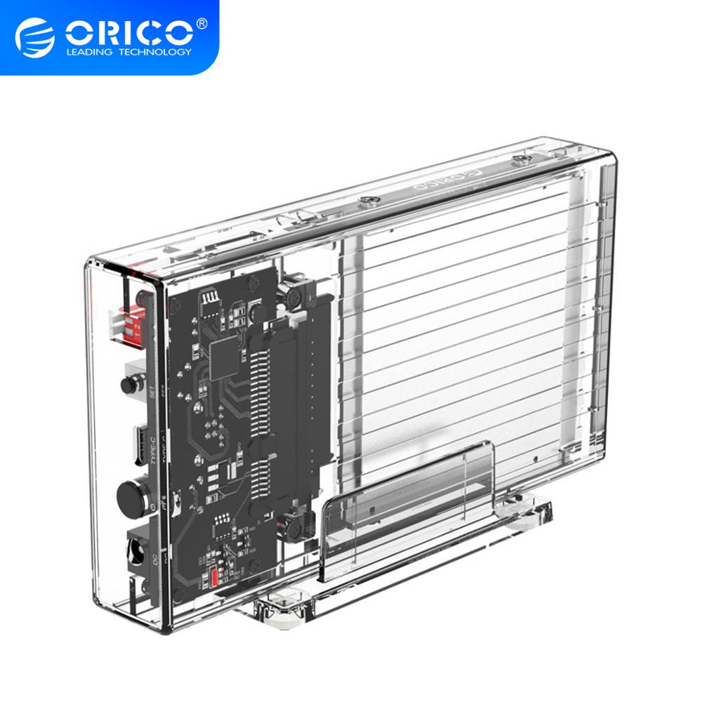 ORICO 2 Bay 2.5'' HDD Case With Raid Function SATA to USB C Transparent HDD Case 5Gbps Support UASP for 7-9.5 mm HDD SSD 8TB