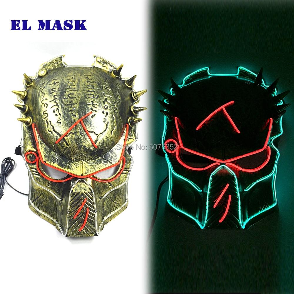 Anime predator el fio máscara de dança dj cosplay máscara de néon iluminado led piscando máscara para o carnaval night club