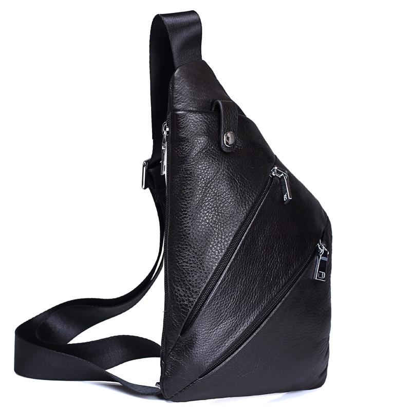 حقيبة صدر من الجلد الناعم للرجال ، نمط جديد ، حقيبة كتف غير رسمية بمسدس جلد البقر ، طبقة علوية