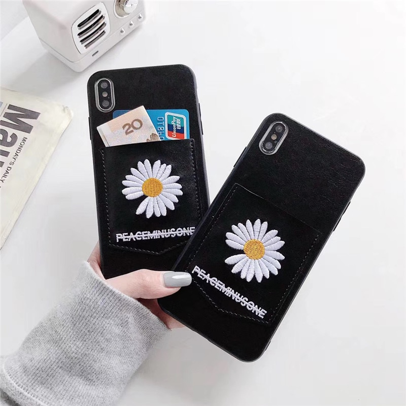 Funda de teléfono de silicona para iPhone 11 Pro MAX X XS XR 6S 7 8 plus SE 2020 de la marca coreana GD daisy leather bordada