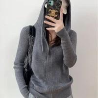 zipper hooded sweater womens loose hooded woolen sweater cardigan western style sweater hoodie womens undergarment