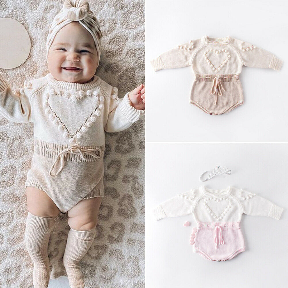 Lovely Heart Infant Baby Girl Knitted Clothes Love Romper Jumpsuit Bodysuit Outfit Autumn Winter woo