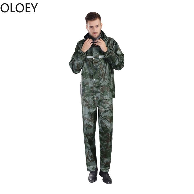 Military Motorcycle Raincoat Thickened Waterproof Rain Coat Men Set PVC Camouflage Adult Split Type Raincoat Pants Suit Poncho enlarge