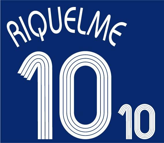 Retro 2006 Argentina #10 RIQUELME impresión nameset Número de fútbol estampado parche insignia