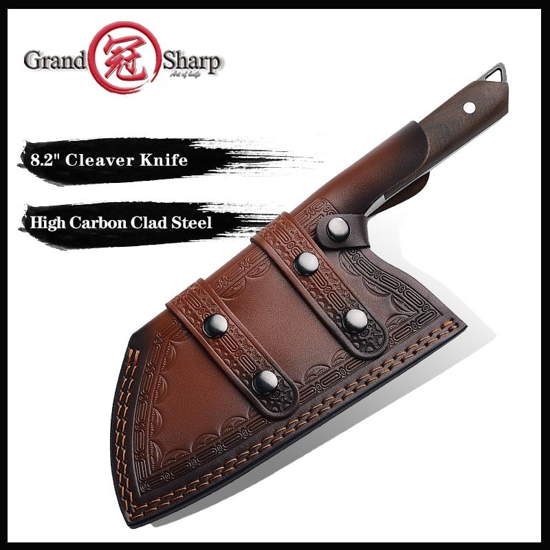 Grandsharp chef faca artesanal forjado de alta carbono folheado facas de cozinha de aço cutelo fileting corte amplo faca de açougueiro presente