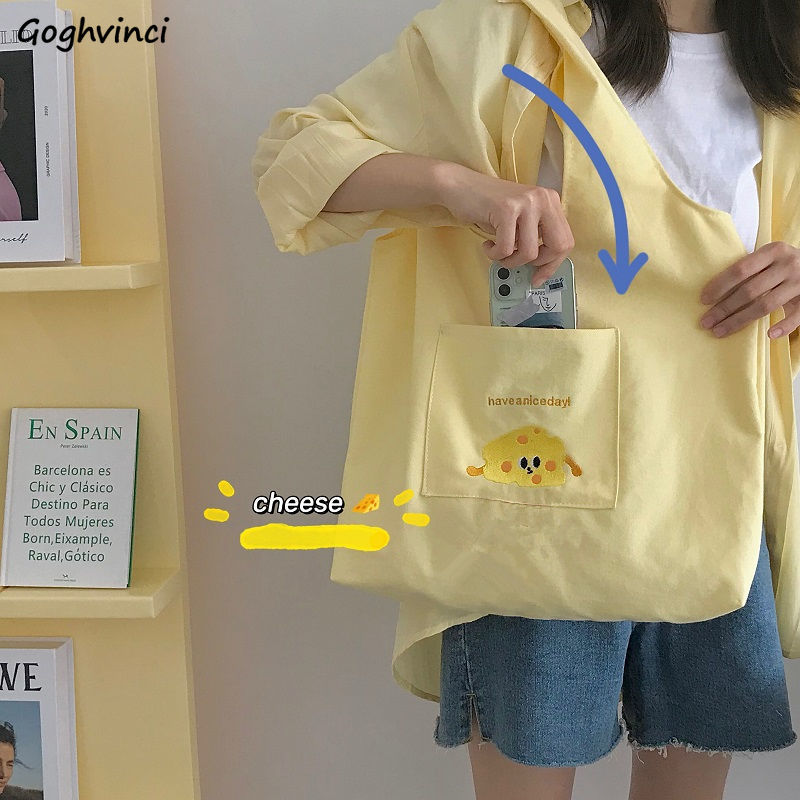 Shoulder Bags Women Canvas Large Capacity Cartoon Embroidery Lovely Students College School Bag Trav