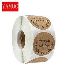 """Runde """"Handmade mit liebe"""" Aufkleber dichtung etiketten rolle aufkleber für Paket schmücken handgemachte aufkleber schreibwaren supplies50-500pcs"""