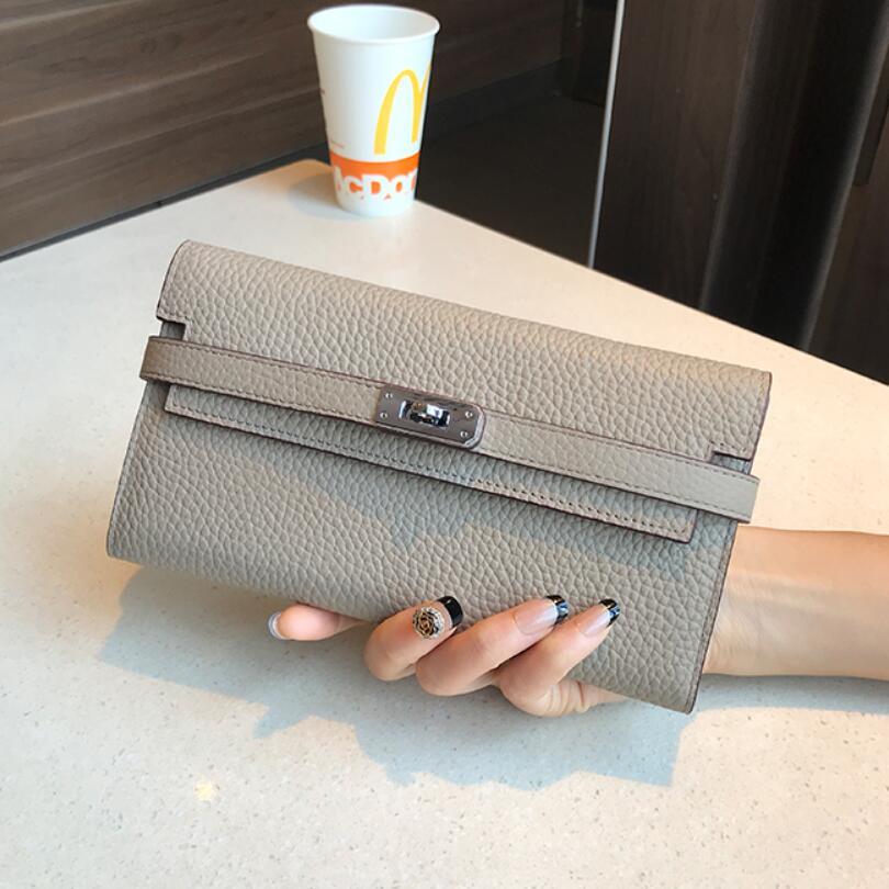 San Maries Genuine Leather Women Wallet Female Long Clutch Lady Walet Portomonee Rfid Luxury Brand Money Bag With Orange Box