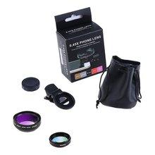 2-en-1 lentille oeil de poisson grand Angle Macro Fisheye lentille Kits de caméra téléphone portable caméra yeux de poisson lentilles avec pince 0.45X 49Uv