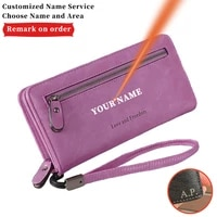 multiple card slots pu leather zipper phone bag letter women engraving name simplicity purse long wallet christmas present