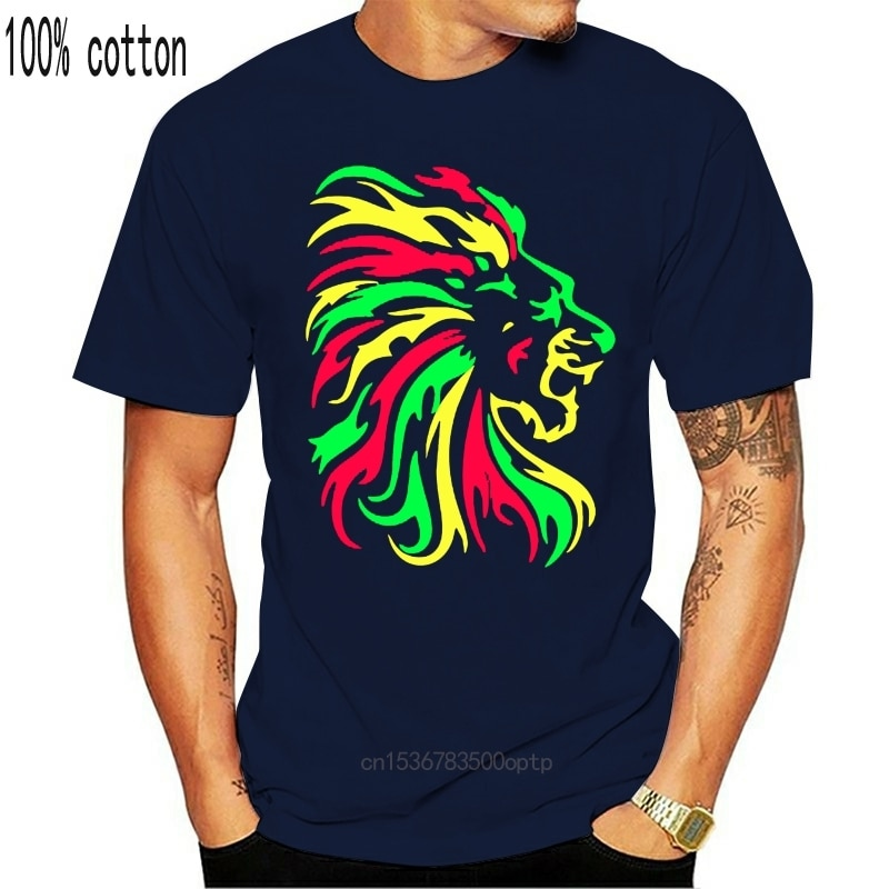 Lion T-Shirt   Reggae   Jamaika   Rauch Unkraut   Lion   Dschungel   Afrika 2018 Neueste Oansatz Sonnenlicht Männer gedruckt T Hemd