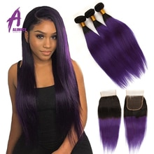 Ombre Purple Bundles With Closure Brazilian Straight Hair Bundles With Closure Alimice 1B/Purple Human Hair Bundles With Closure