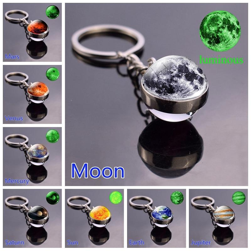 Glow In The Dark Solar System Planet Keyring Galaxy Nebula Luminous Keychain Moon Earth Sun Double Side Glass Ball Key Chain