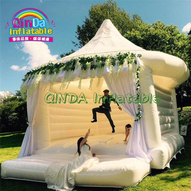 Personalizado Festa Aluguel de Casa do Salto Bouncer Inflável Jumping Castelo vestido de Casamento Branco, salto de Casamento preços