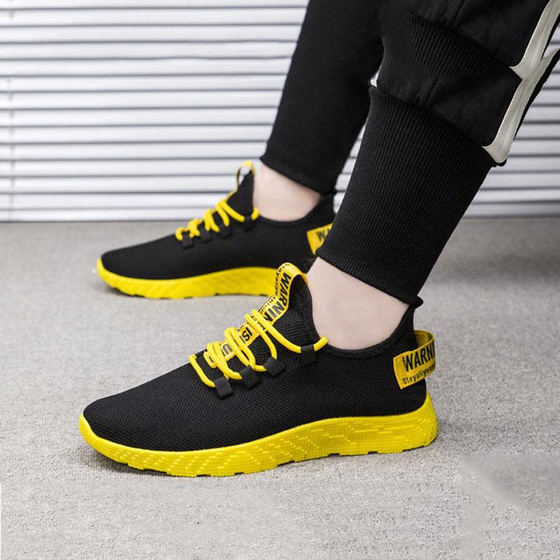 Tênis de malha respirável sapatos masculinos nova moda cor sólida sapatos casuais masculinos tênis de renda até sapatos vulcanizados luz
