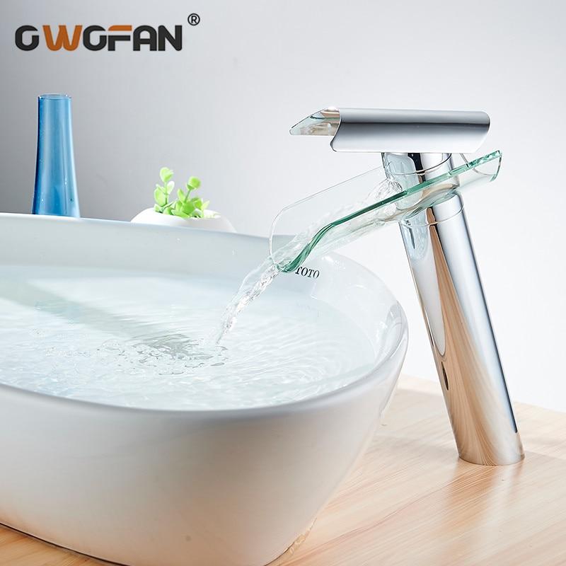 Grifo para lavabo de vidrio y Cascada moderno, grifo para lavabo de acabado alto en cromo, grifo mezclador de una sola manija, grifo de agua Torneira 88302