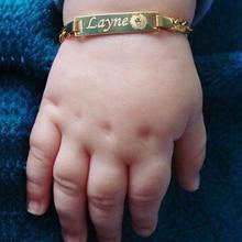 Pulsera personalizada con nombre de bebé, brazalete suave con cadena, color dorado, sin decoloración, joyería de seguridad de 12cm a 15cm
