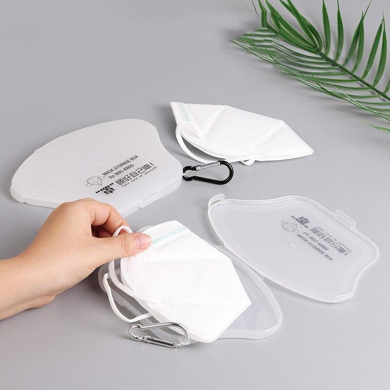 1pc caja de la tienda máscaras titular de la caja de la máscara de mascarilla portátil caja de almacenamiento plegable creativa de caja de plástico Pp para almacenar máscaras H