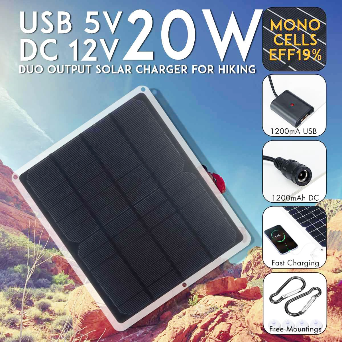 Solar Panel USB 20W 5V 12V Panels Waterproof Charger Mini Ventilator Fan for Pet Poultry House RV Roof  Exhaust