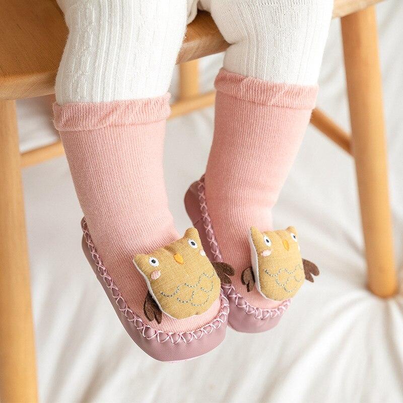 Носки-носки детские с резиновой подошвой, хлопок, мультяшный рисунок, забавные, для дома и весны