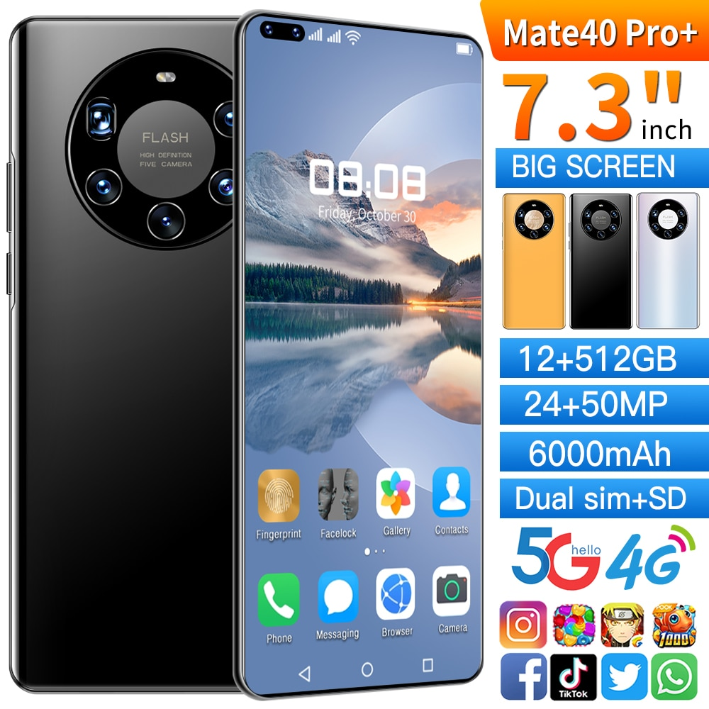 7.2-inch 4G 5G Ultra Mobile Phone Mate40 Pro+ 5000mAh Android 10.0 16GB 512GB Dual SIM Card Touch Sc