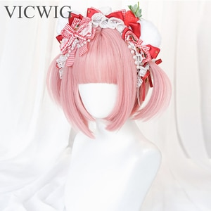 VICWIG Short Straight Synthetic Hair Lolita Style Bob Hairstyle Pink Cosplay Wig with Bangs for Women