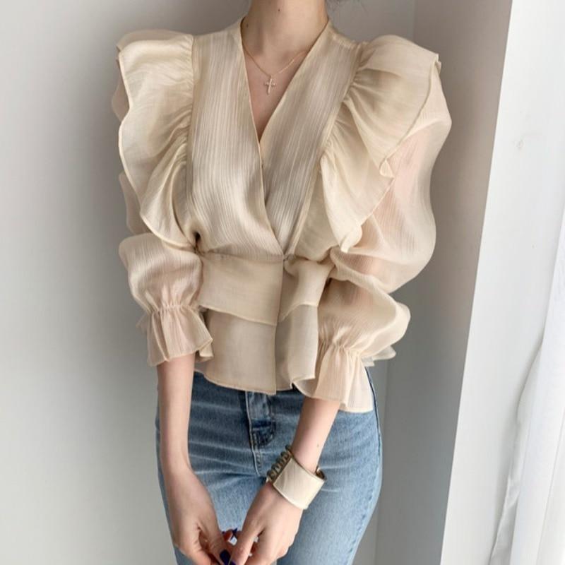 2020 Summer Women V- Neck Long Sleeve Shirt Ruffle Tops Solid Slim Sweet Summer Beach Tee Chiffon Casual Top Korean Blouse