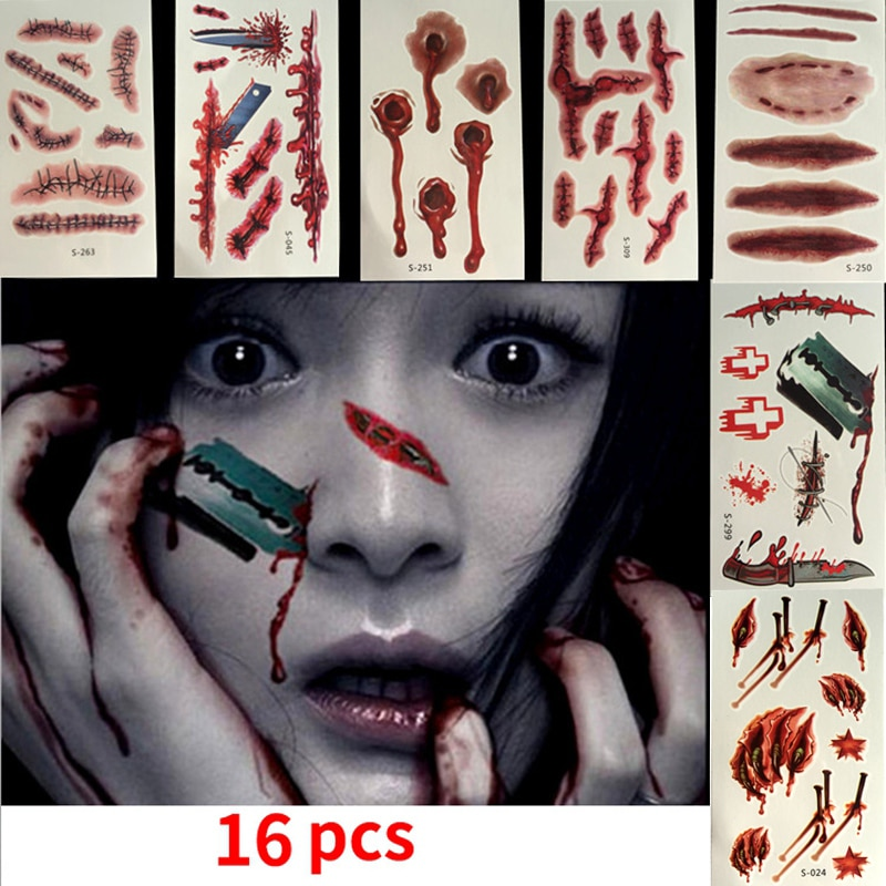 Maquillaje de Zombie, maquillaje de Halloween, tatuaje de cicatriz, tatuaje de Halloween maquillaje de sangre falsa, disfruta del Kit de maquillaje de Halloween tatuaje de zombi, 16