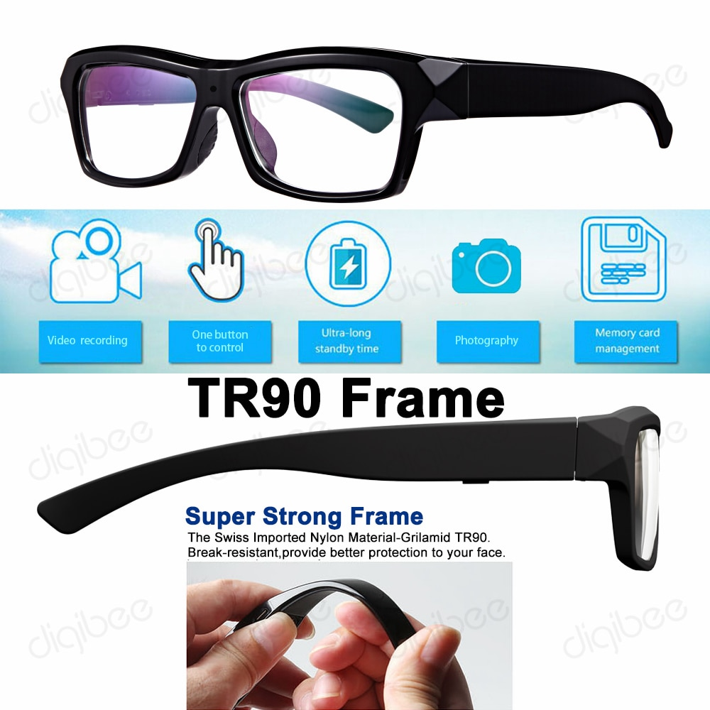 Novo tr90 quadro inteligente óculos inteligentes hd1080p tendo vídeo foto 16gb/32gb/64gb/128gb usb otg para android 4.0 + dispositivo