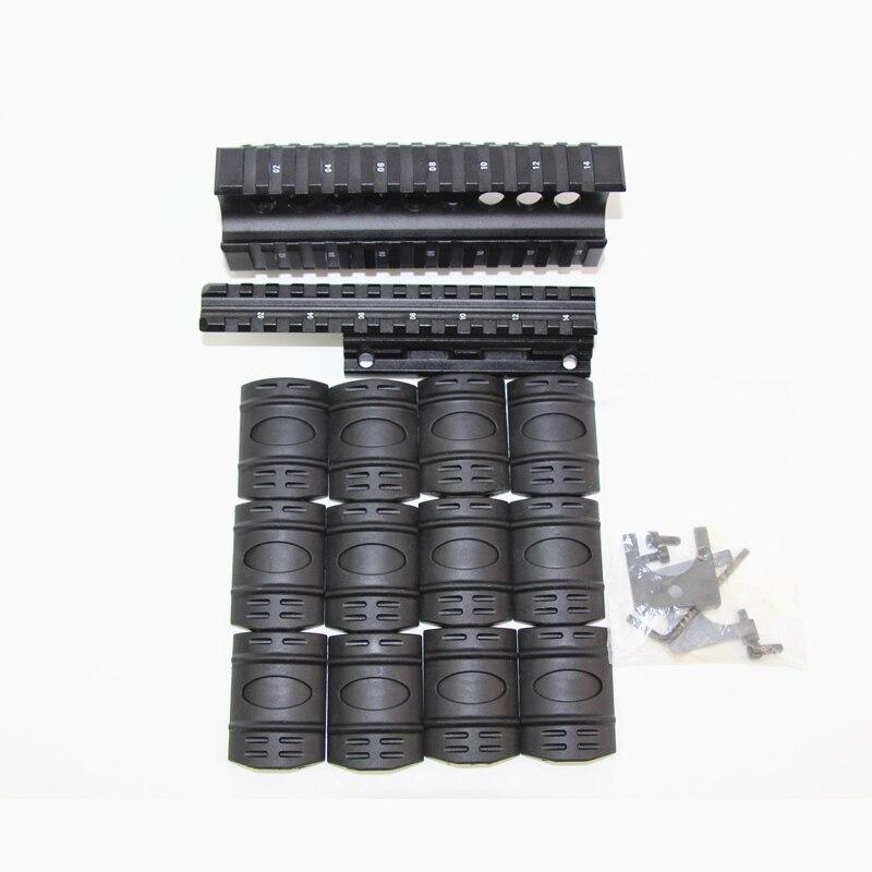 Acessórios de caça rifle ak handguard com 12 pçs picatinny covers tactical airsoft quad ris montar sistema ferroviário escopo para ak 74u