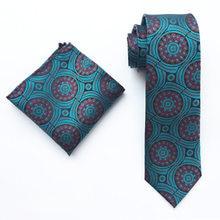 8cm Men's Ties Set Green Circle Floral Necktie with Handkerchief